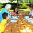 Grandparents At Granddaughters Birthday Lunch — Vídeo de stock