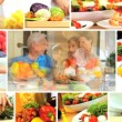 Montage of Healthy Lifestyle Eating - Stock Photo