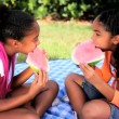Cute Little Ethnic Girls Eating Water Melon - Stock Photo