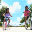 Royalty-Free Stock Imagen vectorial: Two Young Ethnic Sisters Riding Their Bicycles
