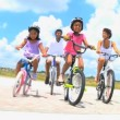 Healthy African American Family Cycling Together — Stok video