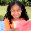 Royalty-Free Stock Imagem Vetorial: Little Ethnic Girl Enjoying Watermelon