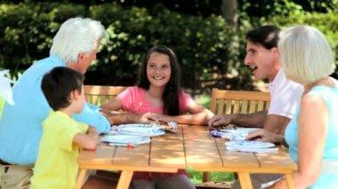 Grandparents Sharing Grandchild's Birthday Cake — Stock Video