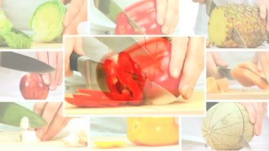 Montage of Healthy Fruit & Vegetable Preparation — Stock Video