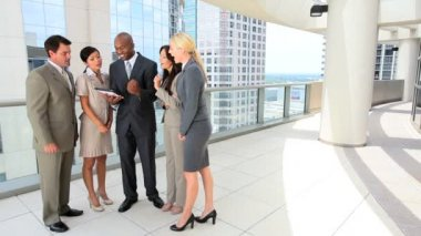 Multi Ethnic Business Team Getting Good News — Stock Video