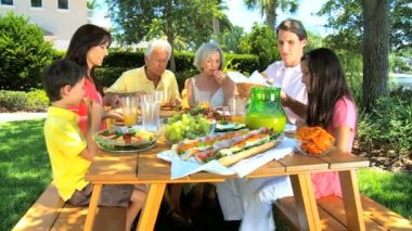 Caucasian Family Generations Eating Outdoors — Stock Video