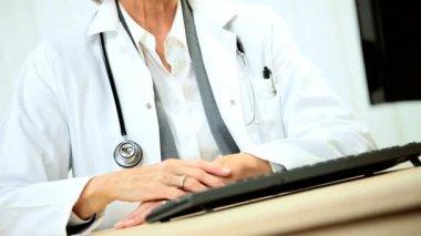 Portrait of Senior Female Doctor — Stock Video