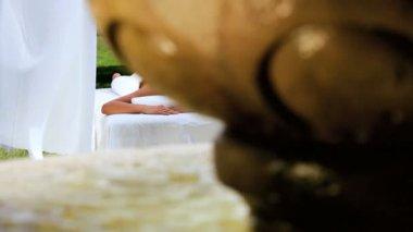Asian Girl Enjoying Health Spa Pampering — Stock Video