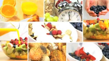 Montage of Healthy Tasty Breakfast Foods — Stock Video