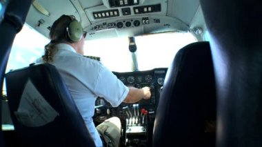 Light Aircraft Pilot at Controls — Stock Video
