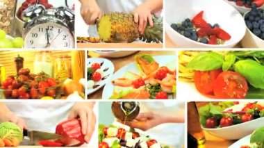 Montage Collection of Healthy Food Preparation — Stock Video