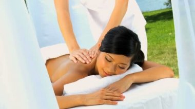 Luxury Spa Client Enjoying Massage Therapy — Stock Video