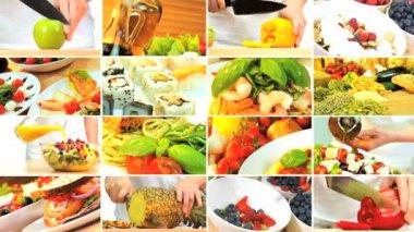 Sağlıklı günlük yemek seçimleri montaj — Stok video