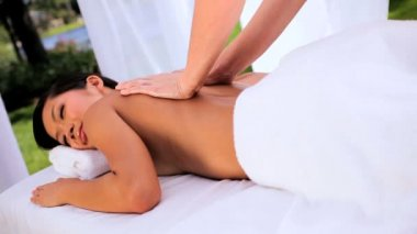 Asian Girl at Health Spa Having Massage — Stock Video