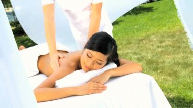 Beautiful Asian Girl Relaxing with Upper Body Massage — Stock Video