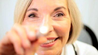 Close uo of Senior Female Doctor — Stock Video