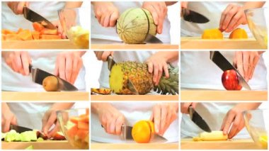 Montage of Fresh Fruit Preparation — Stock Video