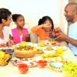 Stock Video: AfricAmericFamily Eating Healthy Lunch