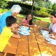 Grandparents Sharing Grandchild's Birthday Cake — Video Stock