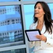 Two Caucasian Businesswomen Using Wireless Tablet — Stock Video #23250792