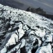 Aerial View of Sedimentary Volcanic Dust on Glacier, Iceland — Stock Video