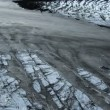 Aerial View of  Ice Glacier with Volcanic Ash, Iceland — Stock Video