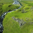 Stock Video: Aerial View of Icelandic Waterfall, Iceland
