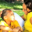 African American Mother & Son Together Outdoors — Stock Video