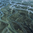 Aerial View of Glacial Meltwater in River Deltas, Iceland — Stock Video