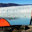 Lone Hiker & Tent by Arctic Glacier — Stockvideo