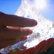 Hands Examining Glacial Ice — Stok video
