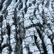 Aerial View of Ice Crevices Black Volcanic Ash, Iceland - Stock Photo