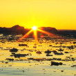 Stock Video: Arctic Sunset over Floating Ice Floes