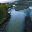 Aerial View of Glacial Meltwater River Deltas, Arctic Region — Stock Video