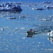 Small Craft Between Ice Floes — Wideo stockowe
