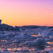 Arctic Sunset & Moon Shining on Melting Ice - Stock Photo