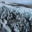 Aerial View of Ice Crevices Black Volcanic Ash, Iceland — Stock Video