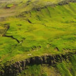 Aerial View of  Fertile Plateau with Lava Ridges, Iceland -  