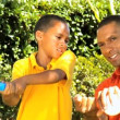 Ethnic Father & Son Practicing Baseball Swing — Wideo stockowe