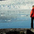 Stock Video: Female Hiker on Arctic Hiking Expedition