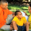 Healthy Ethnic Family Spending Time Outdoors — Stock Video