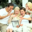 Caucasian Family Using Wireless Tablet for Online Video Chat — Stock Video