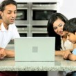 Young Asian Family with Laptop in Kitchen — Stock Video