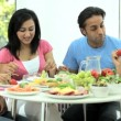 Young Ethnic Family Enjoying a Healthy Meal — Stock Video #23259266