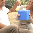 Stock Video: CaucasiMale Receiving Birthday Gift from Wife