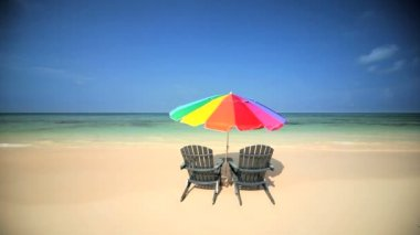 Chairs & Parasol Inviting Relaxation — Stock Video