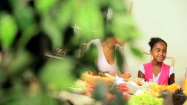 молодые семьи этнических здоровый обед — Стоковое видео