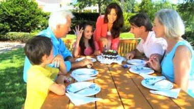 若い女の子の拡大家族とバースデー ケーキを共有 — ストックビデオ