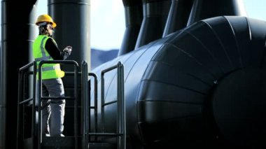 Female Geothermal Engineer at Power Station — Stock Video