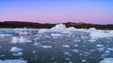 Colours at Dusk over Ice Floes — Stock Video